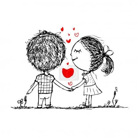 couple dans l'amour ensemble, valentine croquis pour votre conception
