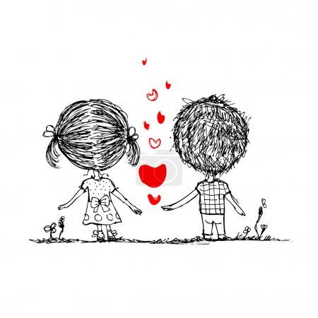 Illustration for Couple in love together, valentine sketch for your design - Royalty Free Image