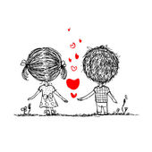 Couple in love together valentine sketch for your design