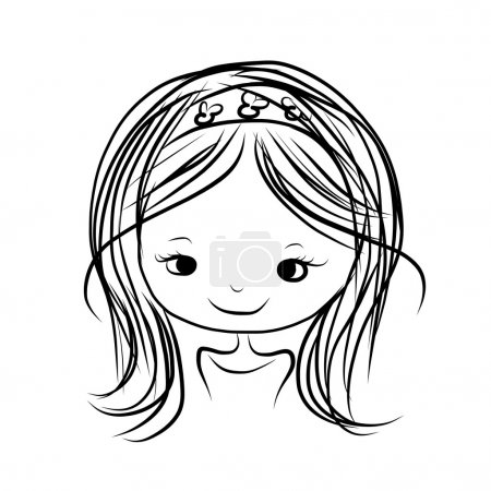 Cute girl smiling, sketch for your design