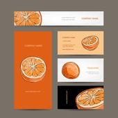 Set of business cards design orange sketch