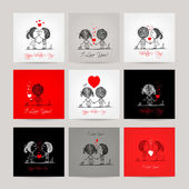 Set of business cards couple in love together