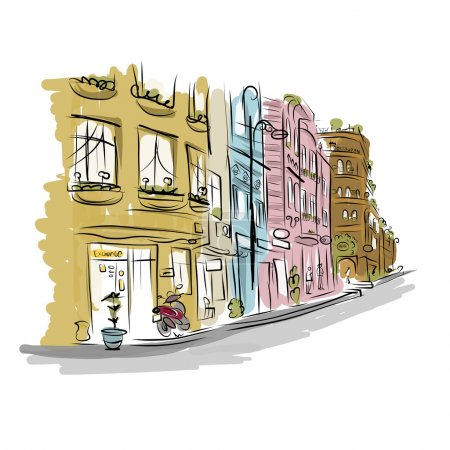 Sketch of old street for your design...