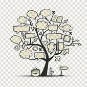 """Постер, картина, фотообои """"дерево с фреймами, прозрачный фон"""""""