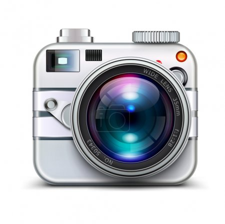 Photo for Illustration of detailed icon representing metal style photo camera with lens - Royalty Free Image