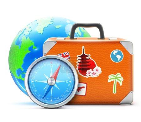 Photo pour Concept de voyage avec valise vintage, globe terrestre bleu brillant et boussole détaillée - image libre de droit