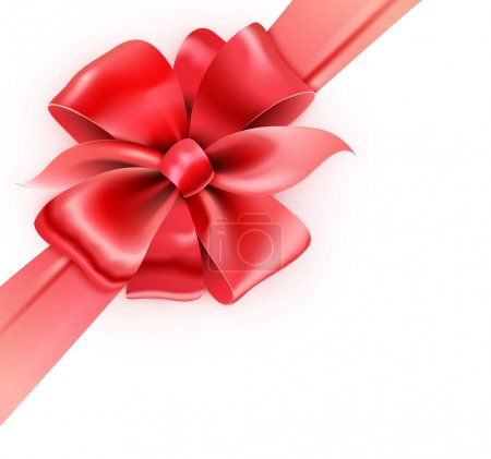 Illustration for Vector illustration of gift wrapped white paper with a red ribbon and classic bow - Royalty Free Image