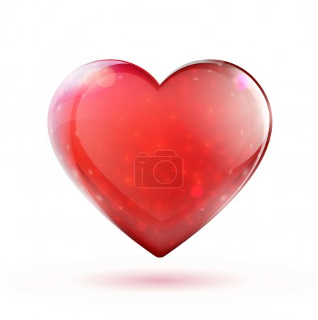 Illustration for Vector illustration of beautiful red glossy heart shape - Royalty Free Image