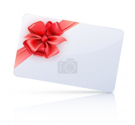Illustration for Vector illustration of decorated gift card with red ribbons and bow - Royalty Free Image