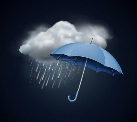 Illustration pour Illustration vectorielle de l'icône du temps frais unique - élégant parapluie ouvert et nuage avec de fortes pluies dans le ciel sombre - image libre de droit