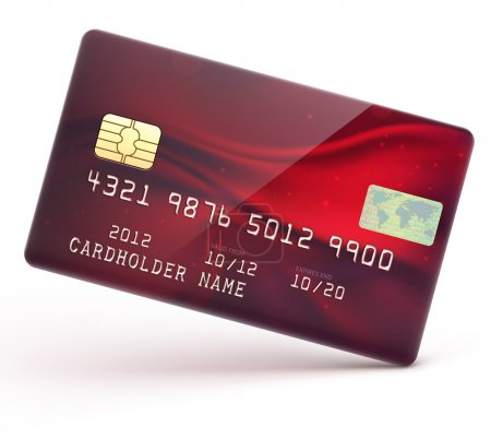 Illustration for Vector illustration of detailed glossy red credit card isolated on white background - Royalty Free Image