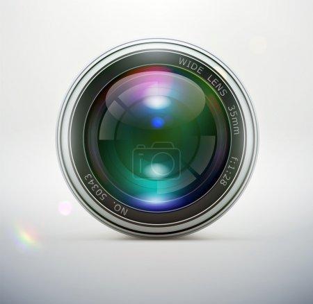 Illustration pour Illustration vectorielle d'une seule icône d'objectif de caméra détaillée isolée sur fond souple - image libre de droit