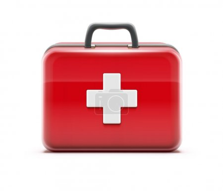 Illustration for Vector illustration of healthcare concept with first aid box icon - Royalty Free Image