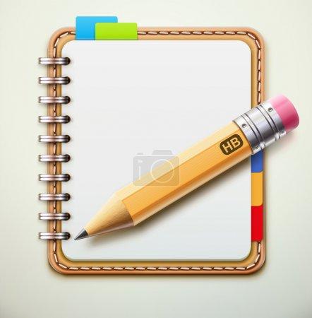 Illustration pour Illustration vectorielle de cahier à spirale en cuir réaliste et détaillée crayon - image libre de droit