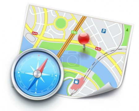 Photo for Vector illustration of navigation concept with detailed blue compass and city map - Royalty Free Image