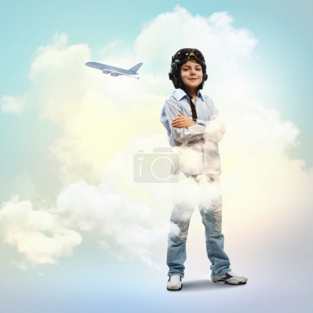 Little boy in pilot's hat