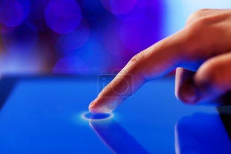 Finger touching screen