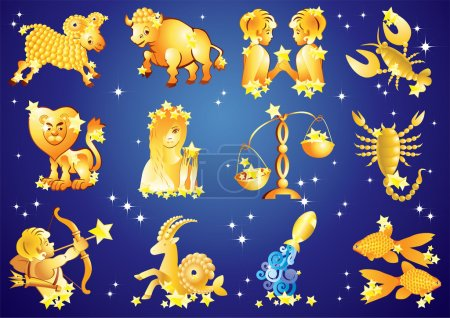 Illustration for Signs of the Zodiac. 12 zodiac signs on blue background with stars. - Royalty Free Image