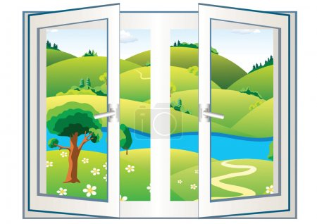 Illustration for Landscape with river and green trees in the open window - Royalty Free Image