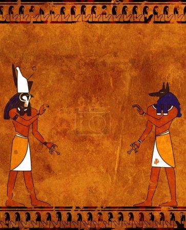 Photo pour Background with Egyptian gods images - Anubis and Horus - image libre de droit