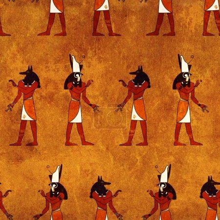 Photo pour Fond sans couture avec des images des dieux égyptiens - Anubis et Horus - image libre de droit