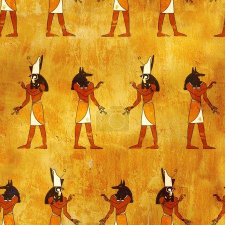 Photo pour Fond transparent avec des images de dieux égyptiens - anubis et horus - image libre de droit