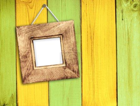 Foto de Retro marcos de madera de pared de madera - Imagen libre de derechos