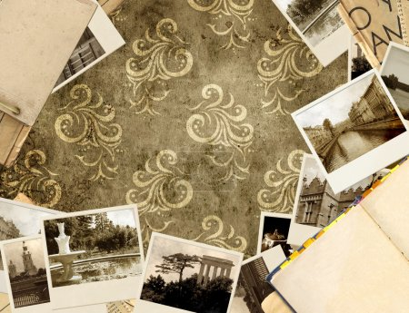 Photo for Grunge background with old book and photos - Royalty Free Image