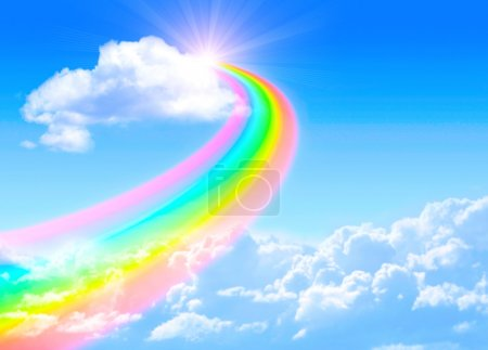 Photo for Beautiful bright rainbow in the blue sky - Royalty Free Image