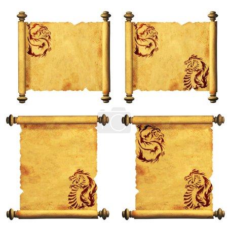 Photo pour Ensemble de parchemins anciens avec l'image de dragons. Isolé sur fond blanc - image libre de droit