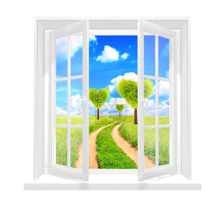 Window and heart shape trees