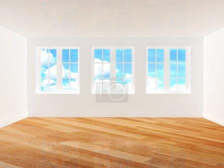 Empty room with parquet floor
