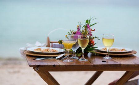 Romantic dinner for two with margarita cocktail for served on a