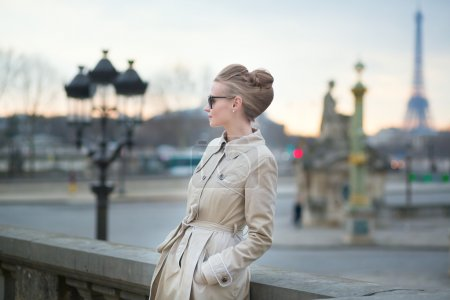 Photo for Elegant young Parisian woman outdoors - Royalty Free Image
