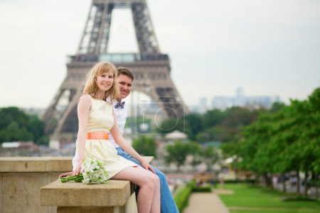 Just married couple near the Eiffel tower