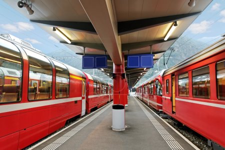 Photo for Red trains station from Tirano to the Switzerland. - Royalty Free Image