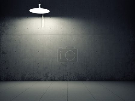 Photo for Dirty concrete wall illuminated by lamp - Royalty Free Image