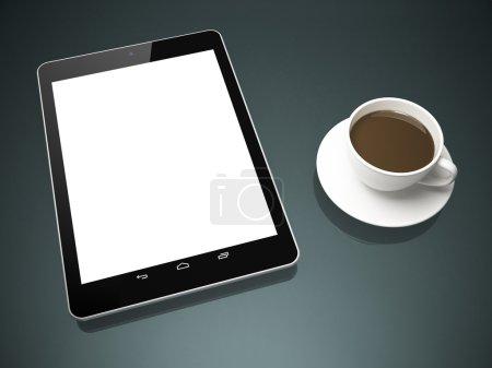 Photo pour Tablette noire et tasse de thé sur la table - image libre de droit
