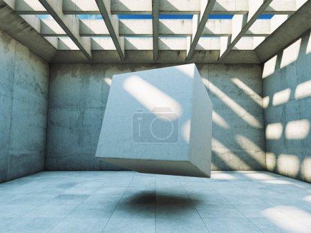 Photo pour Construction en béton avec cube abstrait - image libre de droit