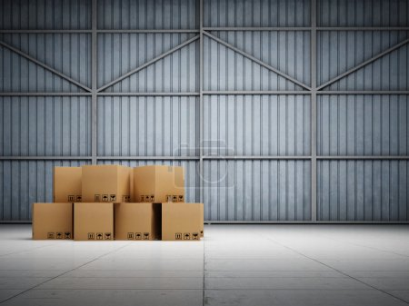 Photo for Large trucking warehouse with cargo - Royalty Free Image