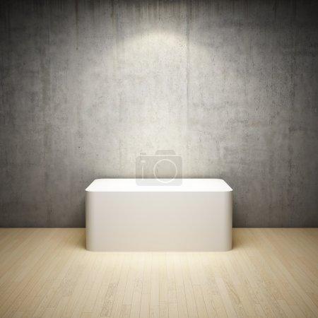 Empty white stand in interior room