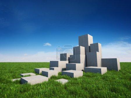 Photo pour Escaliers abstraits de cubes de béton sur le terrain avec de l'herbe et du ciel - image libre de droit