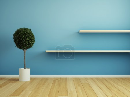 Photo for Interior room with wooden shelf - Royalty Free Image