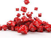 Tomber les cubes rouges avec %