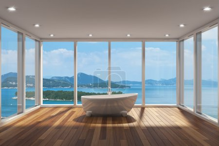 Photo for Modern bathroom with large bay window and view of sea - Royalty Free Image