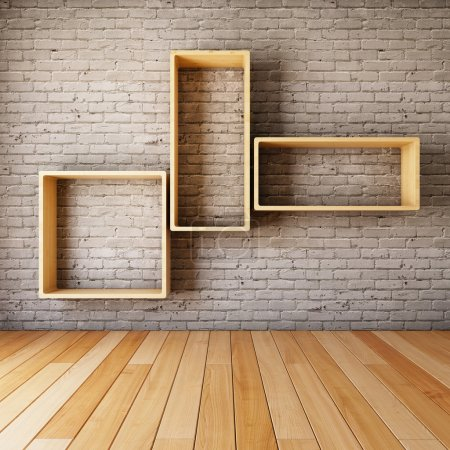 Photo for Brick wall with empty shelves in interior - Royalty Free Image