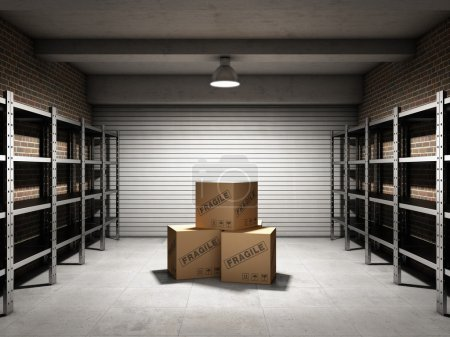 Photo for Storage room with boxes and shelves for cargo - Royalty Free Image