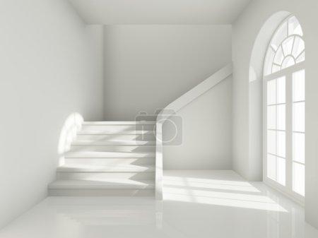 Photo pour Conception architecturale du couloir avec escalier et grande fenêtre - image libre de droit