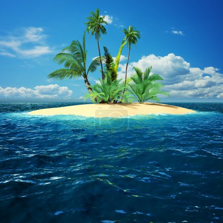 Photo for Paradise island in ocean with palm trees - Royalty Free Image
