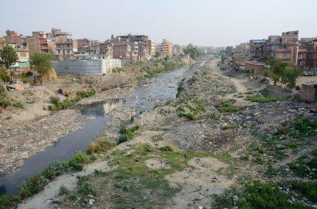 Polluted slum area near sacred Bagmati river in Ka...